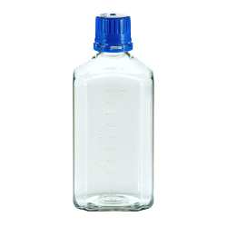 1000mL PET Graduated Square Sterile Bottles with 38/430  Blue Tamper Evident Caps