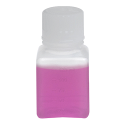125mL Polypropylene Square Aseptic Graduated Bottles with 38/430 Standard Caps - Case of 96