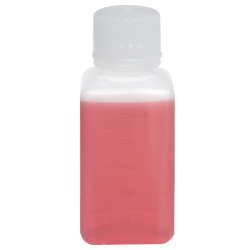 250mL Polypropylene Square Aseptic Graduated Bottles with 38/430 Standard Caps - Case of 90
