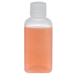 500mL Polypropylene Square Aseptic Graduated Bottles with 38/430 Standard Caps - Case of 40