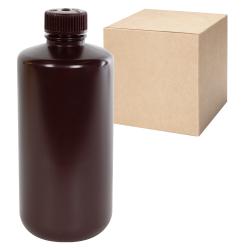 16 oz./500mL Nalgene™ Narrow Mouth Amber Bottles with 28mm Caps - Case of 48