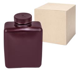 32 oz./1000mL Nalgene™ Amber Rectangular Bottles with 53mm Caps - Case of 24