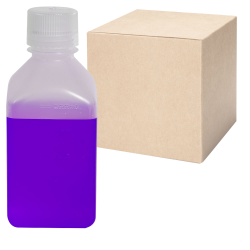 16 oz./500mL Nalgene™ Narrow Mouth Polypropylene Square Bottles with 38/430 Caps - Case of 48