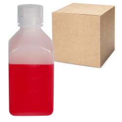 16 oz./500mL Nalgene™ Narrow Mouth Square HDPE Bottles with 38/430 Caps - Case of 48