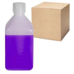 32 oz./1000mL Nalgene™ Narrow Mouth Square HDPE Bottles with 38/430 Caps - Case of 24