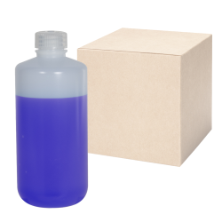 16 oz./500mL Nalgene™ Narrow Mouth IP2 HDPE Shipping Bottles with 28mm Caps - Case of 48