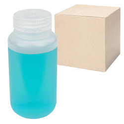 8 oz./250mL Nalgene™ Lab Quality Wide Mouth Polypropylene Bottles with 43mm Caps - Case of 72