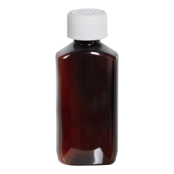 2 oz. Amber PET Drug Oblong Bottle with 20/410 CRC Cap