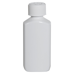 2 oz. White PET Drug Oblong Bottle with 20/410 CRC Cap