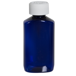 2 oz. Cobalt Blue PET Drug Oblong Bottle with 20/410 CRC Cap