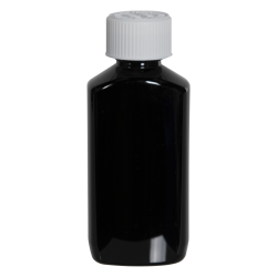 2 oz. Black PET Drug Oblong Bottle with 20/410 CRC Cap