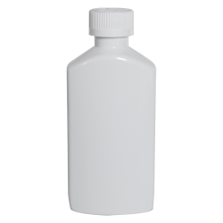 6 oz. White PET Drug Oblong Bottle with 24/410 CRC Cap
