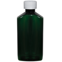 6 oz. Dark Green PET Drug Oblong Bottle with 24/410 CRC Cap