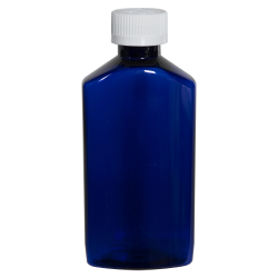 6 oz. Cobalt Blue PET Drug Oblong Bottle with 24/410 CRC Cap