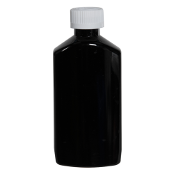 6 oz. Black PET Drug Oblong Bottle with 24/410 CRC Cap