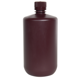 2 Liter Diamond® RealSeal™ Polypropylene Amber Large Format Round Bottle with 38/430 Cap