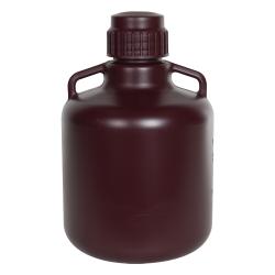 10 Liter Diamond® RealSeal™ Round Amber HDPE Carboy