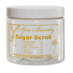 "16 oz. PET Clear Jar with Yellow ""Sugar Scrub"" Embossed & 89/400 Cap"