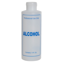 "4 oz. Natural HDPE Cylinder Bottle with 24/410 Neck & Blue ""Alcohol"" Embossed (Caps Sold Separately)"