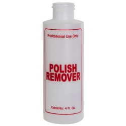 "4 oz. Natural HDPE Cylinder Bottle with 24/410 Neck & Red ""Polish Remover"" Embossed (Caps Sold Separately)"