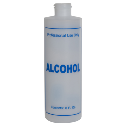 "8 oz. Natural HDPE Cylinder Bottle with 24/410 Neck & Blue ""Alcohol"" Embossed (Caps Sold Separately)"