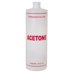 "16 oz. Natural HDPE Cylinder Bottle with 24/410 Neck & Red ""Acetone"" Embossed (Caps Sold Separately)"