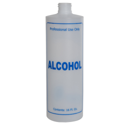 "16 oz. Natural HDPE Cylinder Bottle with 24/410 Neck & Blue ""Alcohol"" Embossed (Caps Sold Separately)"