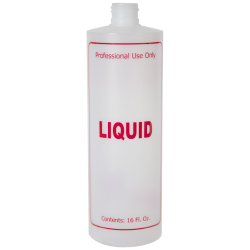 "16 oz. Natural HDPE Cylinder Bottle with 24/410 Neck & Red ""Liquid"" Embossed (Caps Sold Separately)"