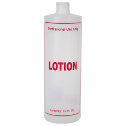 "16 oz. Natural HDPE Cylinder Bottle with 24/410 Neck & Red ""Lotion"" Embossed (Caps Sold Separately)"