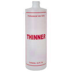 "16 oz. Natural HDPE Cylinder Bottle with 24/410 Neck & Red ""Thinner"" Embossed (Caps Sold Separately)"