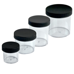 Clear Polystyrene Straight Sided Jars with Black Caps