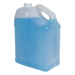 128 oz./1 Gallon Slant Handle White HDPE F-Style Jug with 38/400 Neck (Cap Sold Separately)