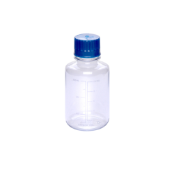 300mL Polycarbonate Graduated Boston Round Bottles with 38/430 Caps - Case of 96