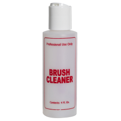 "4 oz. Natural HDPE Cylinder Bottle with 24/410 White Disc Top Cap & Red ""Brush Cleaner"" Embossed"