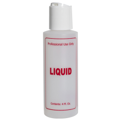 "4 oz. Natural HDPE Cylinder Bottle with 24/410 White Disc Top Cap & Red ""Liquid"" Embossed"