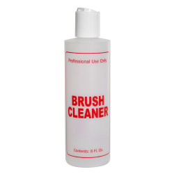 "8 oz. Natural HDPE Cylinder Bottle with 24/410 White Disc Top Cap & Red ""Brush Cleaner"" Embossed"