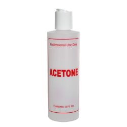 "8 oz. Natural HDPE Cylinder Bottle with 24/410 White Disc Top Cap & Red ""Acetone"" Embossed"