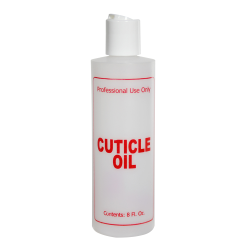 "8 oz. Natural HDPE Cylinder Bottle with 24/410 White Disc Top Cap & Red ""Cuticle Oil"" Embossed"