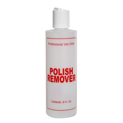 """8 oz. Natural HDPE Cylinder Bottle with 24/410 White Disc Top Cap & Red """"Polish Remover"""" Embossed"""