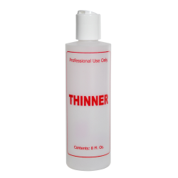"""8 oz. Natural HDPE Cylinder Bottle with 24/410 White Disc Top Cap & Red """"Thinner"""" Embossed"""