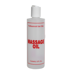 "8 oz. Natural HDPE Cylinder Bottle with 24/410 White Disc Top Cap & Red ""Massage Oil"" Embossed"