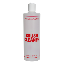 """16 oz. Natural HDPE Cylinder Bottle with 24/410 White Disc Top Cap & Red """"Brush Cleaner"""" Embossed"""