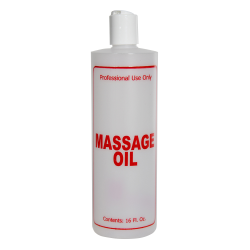 "16 oz. Natural HDPE Cylinder Bottle with 24/410 White Disc Top Cap & Red ""Massage Oil"" Embossed"