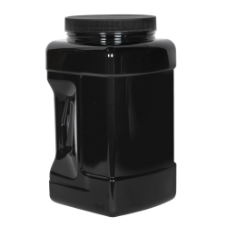 128 oz. Black PET Square Pinch Grip-It Jar with 120/400 Cap