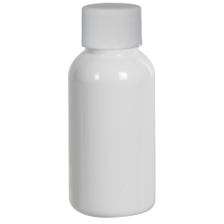 1 oz. White PET Traditional Boston Round Bottle with 20/400 Plain Cap with F217 Liner