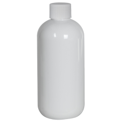 8 oz. White PET Traditional Boston Round Bottle with 24/410 Plain Cap with F217 Liner