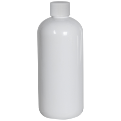 12 oz. White PET Traditional Boston Round Bottle with 24/410 Plain Cap