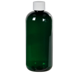12 oz. Dark Green PET Traditional Boston Round Bottle with 24/410 Plain Cap with F217 Liner