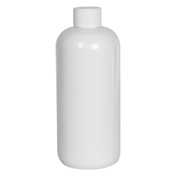 16 oz. White PET Traditional Boston Round Bottle with 24/410 Plain Cap