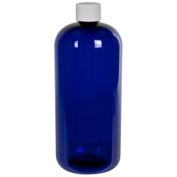 32 oz. Cobalt Blue PET Traditional Boston Round Bottle with 28/410 Plain Cap with F217 Liner
